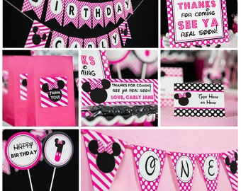 Hot Pink Minnie Mouse Party Decorations INSTANT DOWNLOAD - Minnie Mouse Birthday Party by Printable Studio