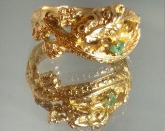 14K Solid Yellow Gold Custom Emerald Dragon Ring Retro Vintage