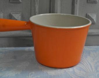 """A """"Le Creuset"""" vintage French enamel sauce pan, retro orange """"volcanic"""" 1970's fondue, cast iron cookware, antique country kitchen, classic"""