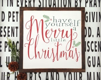 MERRY CHRISTMAS | framed wood sign | Holiday decor | 13 x 13