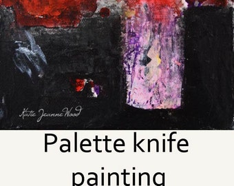 Red Abstract Flower Painting - Palette Knife Floral Art - Romantic Gift - 246