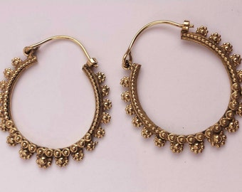 Antique Look Handcrafted Brass Flower Hoop Earrings - Gypsy,Boho,Ethnic,Tribal