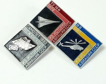 Vintage soviet pin badges set 3 pcs. - The Soviet Aviation - Soviet Planes - USSR Aviation - Planes - The history of ussr aviation