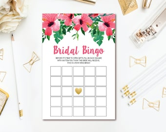 Tropical Floral Bridal Shower Bingo Game - Hawaiian Luau Bridal Bingo Cards - Printable Wedding Shower Game - Hibiscus INSTANT DOWNLOAD