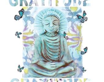 Buddha-Gratitude, Yoga tee– cap sleeves – 100%cotton, clothing, women's tshirts, women's clothing,  tops. tees, t-shirts