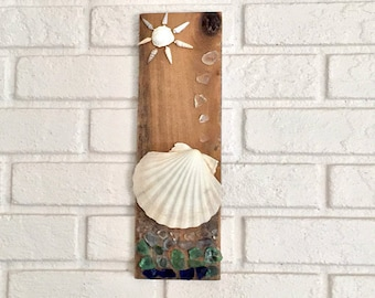 Sea Glass Wall Art, Seashell Wall Art, Sea Glass Decor, Shell and Wood Art, Shell Art, Rustic Beach Decor, Coastal Wall Art, Nautical Decor