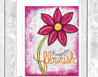 """NOTECARD: Flourishes in Print - Flourish, Pink Daisy 4.25"""" x 5.5"""" A2 Greeting Card, Gift for Her, Gift for Friend, Gift for Flower Lover"""
