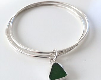 Duo silver bangle with sea glass charm