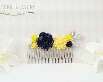Navy blue, yellow, white and silver hair comb. Dark blue hair clip. Wedding bridal hair.