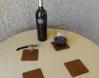 Chocolate Brown Fused Glass Coasters - Set of 4 Coasters