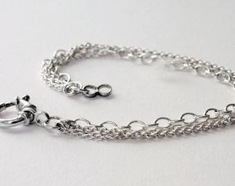 Silver Chain Bracelet, Multiple Chain Sterling Silver Bracelet, Silver bracelet, chain bracelet, 21st birthday present, 18th birthday gift.