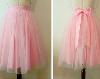 BABY PINK tulle knee length prom skirt, bridal, bridesmaid, christmas party, New Years, wedding