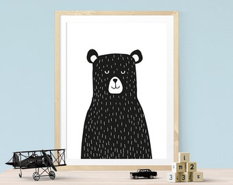 Bear Print, black bear print, bear nursery print, black and white, kids wall decor, nursery decor, monochrome nursery decor, bear poster