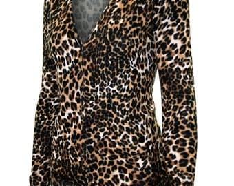Women's Cheetah Animal Print Cardigan Sweater, V-neck - SW325