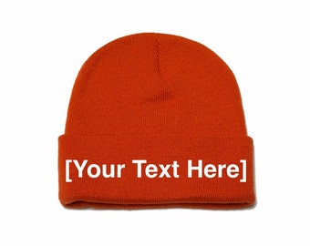 Custom Beanie, Custom Beanies, Custom Embroidered Beanie, Custom Beanie Hat, Orange