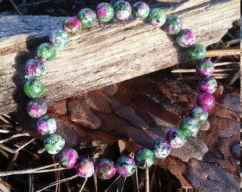 Anyolite Ruby Zoisite Bracelet 6mm Meditation / Healing / Spirituality