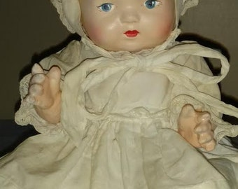 """Vintage 10"""" Composition Unmarked Baby Doll, Hand Made Dress and Bonnet, Mint!"""