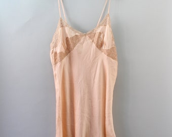 1930s Teddy / Strawberry Ice Romper / Vintage 30s Silk Step In / M L