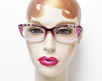 Pink Reading glasses with owls, Painted eyeglasses +1.00, Funky and Fun