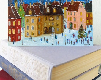 Winter city scene Christmas card New Years cards hand painted Handmade Christmas card Whimsical art Snow scene Colorful Christmas art