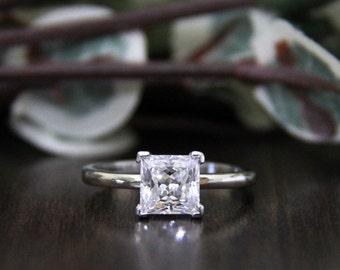 1.70 ct Solitaire Engagement Ring-Princess Cut Diamond Simulant-Bridal Ring-Anniversary Ring-Wedding Ring-Sterling Silver [2413]