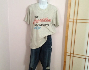 Vintage T-Shirt Chevy t-shirt Heartbeat of America Chevrolet t-shirt Vintage Gray SOFT Vintage Shirt Large Thin Vintage Shirt