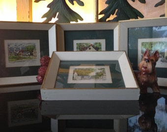 Lithograph of Watercolor Paintings Set of 4 Shabby Chic Framed Lithographic Watercolor Pictures William MCK Spierer