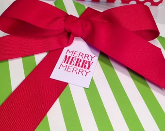 Merry Christmas Gift Tags/Party Favor Tags - Red and White - Set of 6