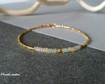 Ethiopian Welo Opal and 24K Gold Vermei Beads, October Birthtone, Gemstone Bracelet
