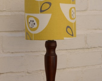 Retro lampshade, mustard lampshade, retro, lighting, mid century lamp, lampshades, yellow lighting, table lamp, floor lamp, retro home decor