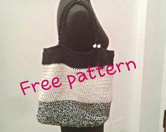 BAG PATTERN for FREE, twine tote bag, crochet bag, striped tote bag