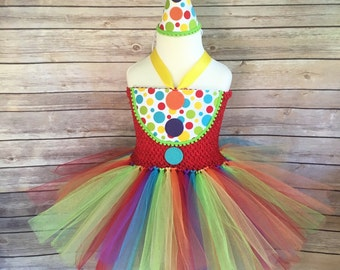 Clown costume - clown tutu -  girls dress up - circus party dress - clown outfit - rainbow tutu - girls clown costume - costumes - gifts for