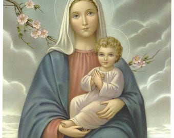 "Mary & Jesus picture Catholic Art Print  - 8"" x 10"" from Germany ready to frame! Madonna and Child Jesus"