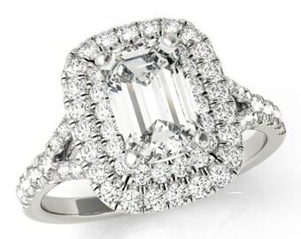 8x6mm Emerald Supernova Moissanite & Diamond Double Halo Engagement Ring 14k, 18k or Platinum, Cyber Monday Black Friday 2016, Jewelry Gifts