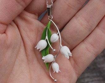 Polymer clay lily of the valley jewelry, elegant silver pendant with the chain, best Mother's Day Gift, anniversary gift,bridal shower gift