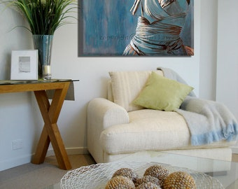 Blue Wall Art Canvas Print Living Room Modern Painting