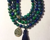 AZURITE MALACHITE 108 Bead Mala with a Silver Tree of Life Charm, and a Navy Blue Tassel