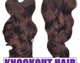 "Fits like a Halo Hair Extensions 20"" - 150 Grams 100% Premium Fiber Wavy Hair (Dark Red Brown Mix - #33/35)"