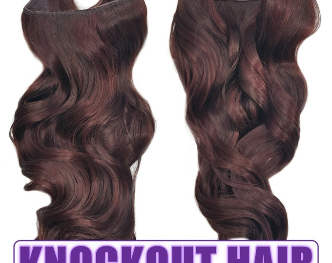 """Fits like a Halo Hair Extensions 20"""" - 150 Grams 100% Premium Fiber Wavy Hair (Dark Red Brown Mix - #33/35)"""