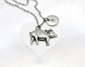 pig necklace, pig jewelry,  initial necklace, personalized, monogram,customized, name necklace, custom name necklace