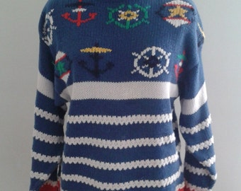 Vintage 1990's Nautical Blue White Stripe Knit Sweater Anchors Sz Small