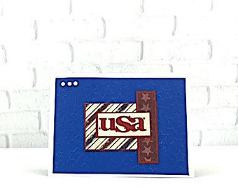 Red White and Blue ~ Stars and Stripes ~ Handmade Card ~ Memorial Day Card ~ USA ~ 4th of July ~ Thank You ~ Veterans Day ~ Red White Blue