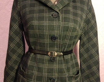 Mod Pure Wool Check Jacket with Velvet Collar.  Dark forest-green check pattern.  Small-Medium