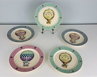 Set of 5 Lillian Vernon Hot Air Balloon Plates, Pink Mint Green Aqua Blue Decorative Plate, Childrens Room Decor, Pastel Colors, Shabby Chic