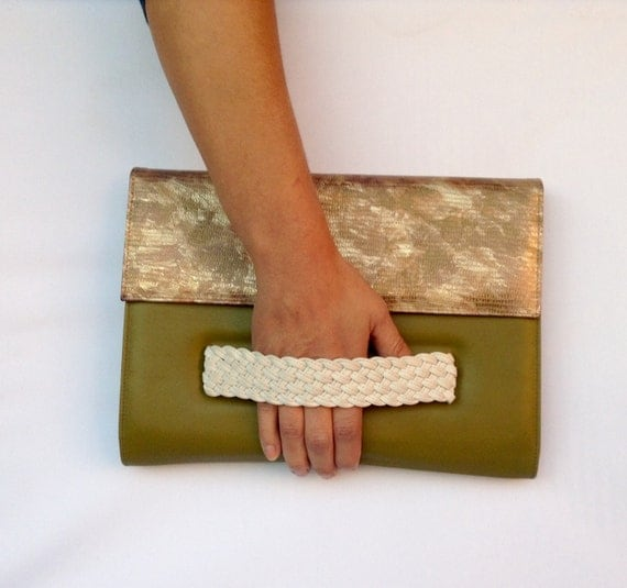 Leather Clutch Olive Green and Military Gold with Handle Envelop Medium OLA Olaccessories Bag FREE SHIPPING