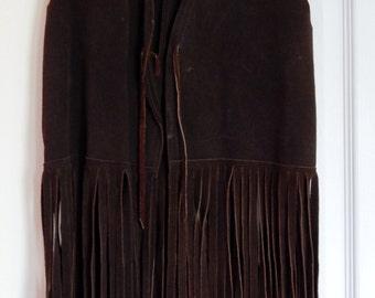 Vintage Dark Brown Suede Fringe Vest from the 1960s, Hippy Vest, Halloween Costume