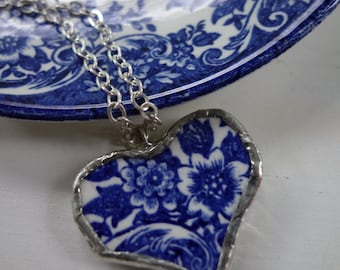 Broken china jewelry - Vintage blue and white broken china heart pendant- heart necklace
