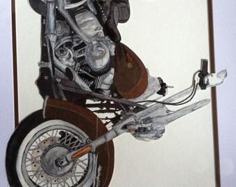 Custom Watercolor Motorcycle