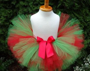 Christmas Tutu, Red Green Tutu, Sewn Tutu, Holiday Tutu, Baby Tutu, Green Tutu, Toddler Tutu, Tutu, Baby Christmas Outfit, Christmas Outfit