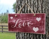 "Distressed Wood ""LOVE"" Sign with 3 Scattered Hearts and Jute Cord – Rustic, Country, Primitive, Vintage Décor - Valentines Day"